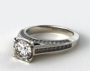 14K White Gold Channel Set Princess Shape Diamond Engagement Ring