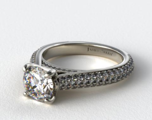 18K White Gold Pave Tapered Cathedral Engagement Ring