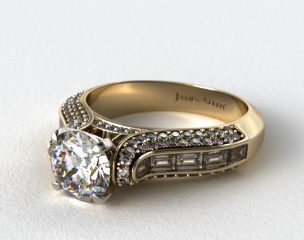 14K Yellow Gold Baguette and Pave Diamond Engagement Ring