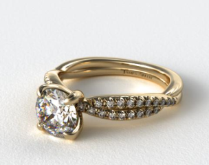 18K Yellow Gold Pave Twist Engagement Ring
