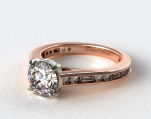 14K Rose Gold Alternating Baguette and Round Diamond Engagement Ring