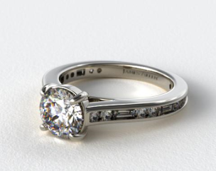 Platinum Alternating Baguette and Round Diamond Engagement Ring