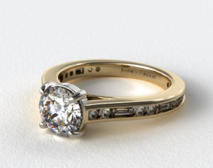 14K Yellow Gold Alternating Baguette and Round Diamond Engagement Ring