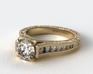 14K Yellow Gold Hand Engraved Channel Set Round Diamond Engagement Ring