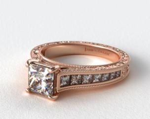 14K Rose Gold Hand Engraved Channel Set Princess Shape Diamond Engagement Ring