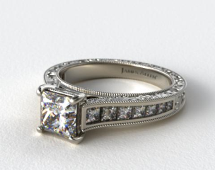 Platinum Hand Engraved Channel Set Princess Shape Diamond Engagement Ring
