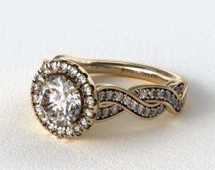14K Yellow Gold Pave Diamond Infinity Engagement Ring