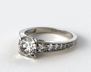 Platinum Reverse Taper Milgrain Diamond Engagement Ring