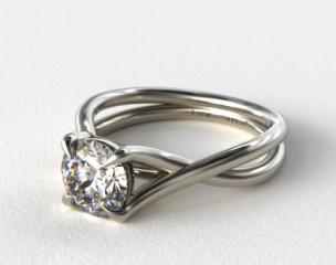 18K White Gold Cross Over Diamond Engagement Ring