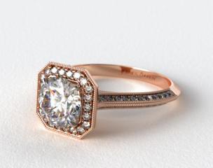 14K Rose Gold Octagon Halo Diamond Engagement Ring