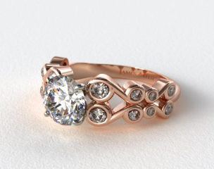 14K Rose Gold Bezel Set Trellis Engagement Ring