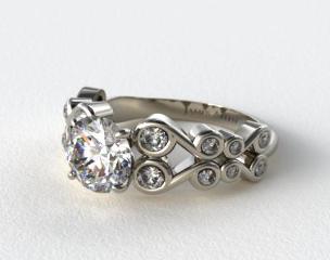 14K White Gold Bezel Set Trellis Engagement Ring