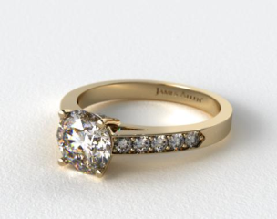 14k Yellow Gold Pave Set Surprise Diamond Engagement Ring
