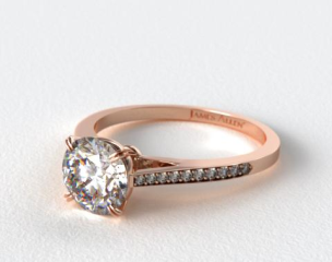 14K Rose Gold Double Claw Prong 0.16ct Pave Set Diamond Engagement Ring