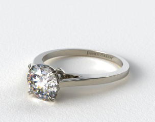 18k White Gold Double Claw Prong Engagement Ring