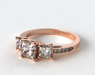 14K Rose Gold Three Stone Princess and Pave Set Diamond Engagement Ring