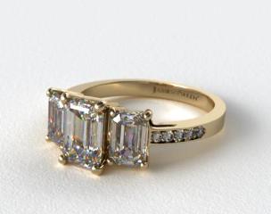 18k Yellow Gold Three Stone Emerald and Pave Set Diamond Engagement Ring