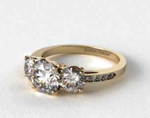 18K Yellow Gold Three Stone Round and Pave Set Diamond Engagement Ring