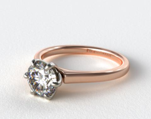14K Rose Gold Tapered Six Prong Diamond Engagement Ring