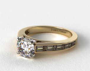 14K Yellow Gold Baguette Diamond Engagement Ring