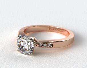 14K Rose Gold Petite Diamond Accent Engagement Ring