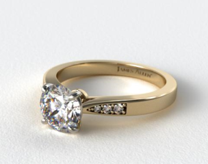 14K Yellow Gold Petite Diamond Accent Engagement Ring