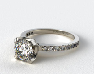 Platinum Art-Nouveau 2.0mm Pave Set Diamond Engagement Ring