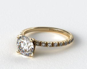 14K Yellow Gold Thin French-Cut Pave Set Diamond Engagement Ring