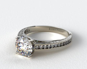 Platinum Engraved Channel Set Round Shaped Diamond Engagement Ring