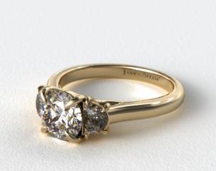 18K Yellow Gold Three Stone Round Trellis Engagement Ring