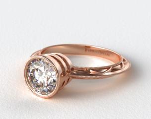 14K Rose Gold Milgrain Bezel Diamond Engagement Ring