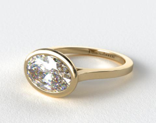 14k Yellow Gold Bezel Solitaire Engagement Ring (Oval Center)