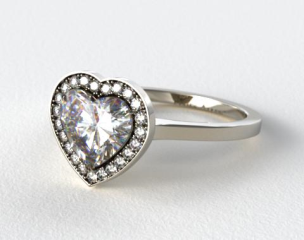Platinum Pave Halo Engagement Ring (Heart Center)