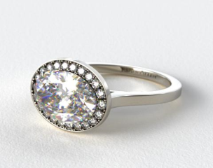 Platinum Pave Halo Engagement Ring (Oval Center)