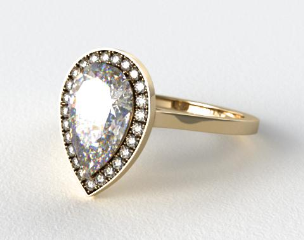 14K Yellow Gold Pave Halo Engagement Ring (Pear Center)