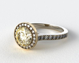 18k Yellow Gold Pave Halo and White Gold Shoulders Engagement Ring (Round Center)