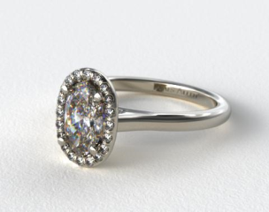 Platinum Pave Halo Diamond Engagement Ring (Oval Center)