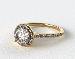 18K Yellow Gold Pave Halo and Shank Diamond Engagement Ring (Round Center)