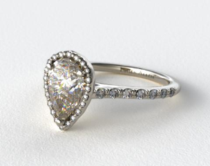 Platinum Pave Halo and Shank Diamond Engagement Ring (Pear Center)