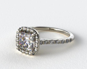 Platinum Pave Halo and Shank Diamond Engagement Ring (Cushion Center)