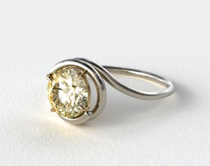 18k White Gold Solitaire Swirl AE133 with Yellow Gold Basket by Danhov Designer Engagement Ring