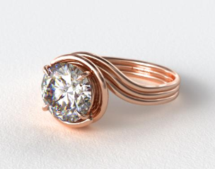 14K Rose Gold Three Band Solitaire Swirl AE141 by Danhov Designer Engagement Ring