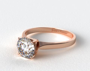 14K Rose Gold Four Prong Cathedral Arch Engagement Ring