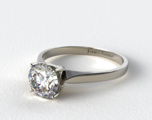 18k White Gold Four Prong Cathedral Arch Engagement Ring