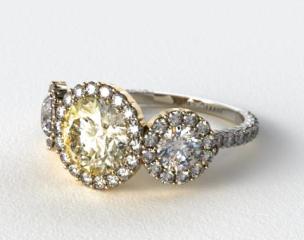 18K White Gold Three Stone Pave Halo XE106 by Danhov Designer Engagement Ring (Yellow Gold Basket)