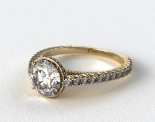 18K Yellow Gold Pave Basket XE110 by Danhov Designer Engagement Ring