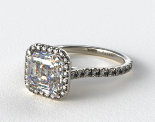 14k White Gold Pave Set Engagement Ring (Asscher Center)