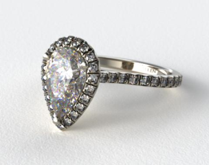 14k White Gold Pave Set Engagement Ring (Pear Center)