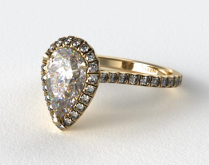 18k Yellow Gold Pave Set Engagement Ring (Pear Center)