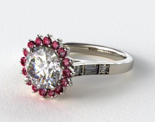 14K White Gold  Ruby Sunburst and Diamond Baguette Engagement Ring